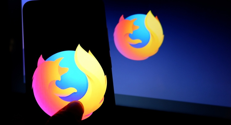 Popular web browser Mozilla Firefox logo seen displayed on a smartphone