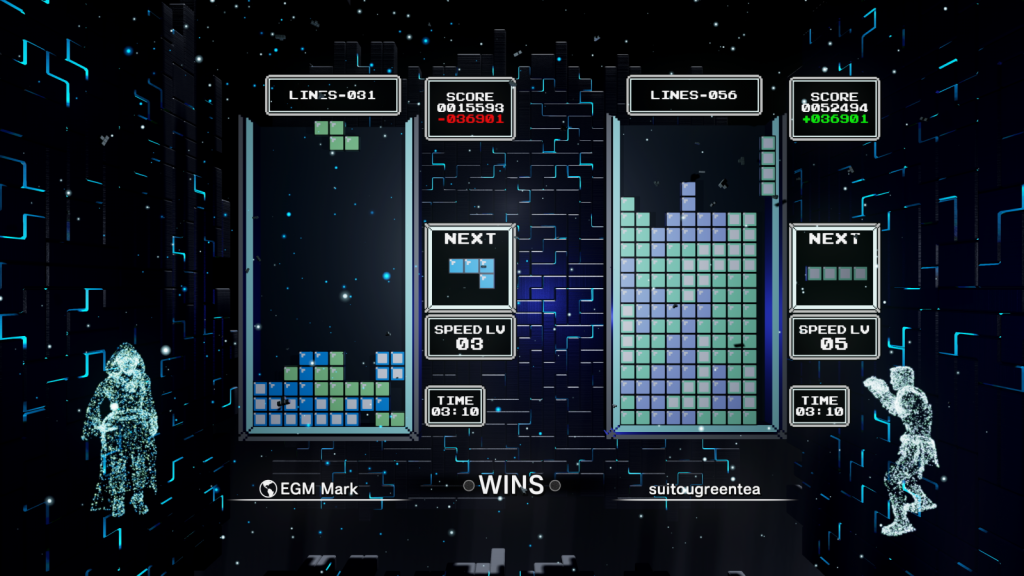 Classic Score Attack multiplayer in Tetris Effect: Connected.