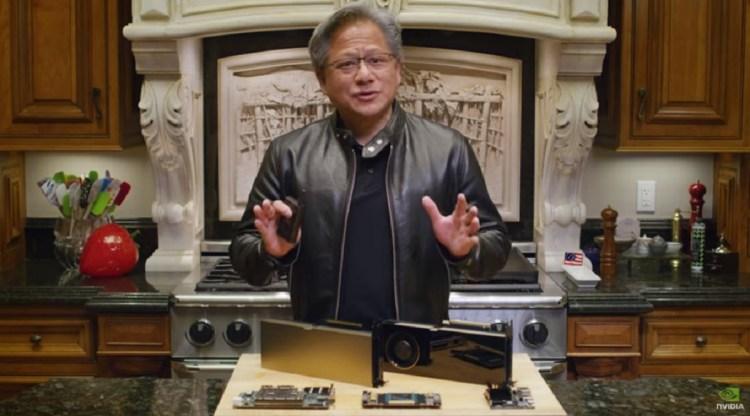 Nvidia CEO Jensen Huang talks at GTC 2020.