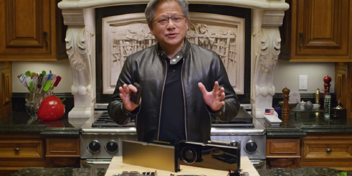 Nvidia CEO Jensen Huang talks at GTC 2020.