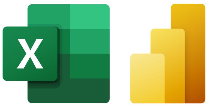 Microsoft Excel and PowerBI logos