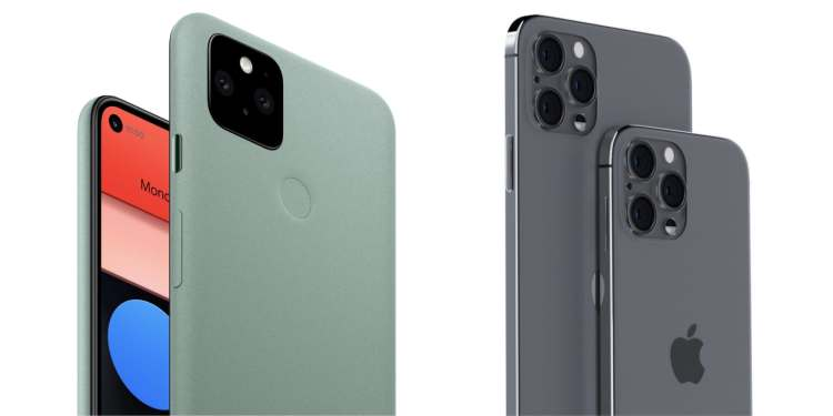 The Pixel 5 is shown against a render of two iPhone 12 models.
