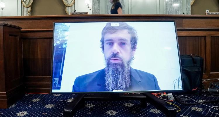 CEO of Twitter Jack Dorsey gives his opening statement remotely during the Senate Commerce, Science, and Transportation Committee hearing 'Does Section 230's Sweeping Immunity Enable Big Tech Bad Behavior?', on Capitol Hill in Washington, DC, U.S., October 28, 2020.