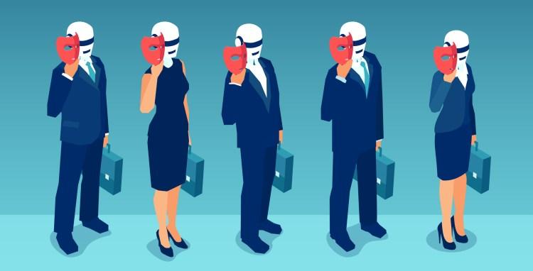 Vector of robot candidates replacing humans hiding behind masks