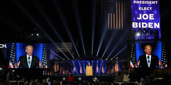 President-elect Joe Biden addresses the nation from the Chase Center November 07, 2020 in Wilmington, Delaware.