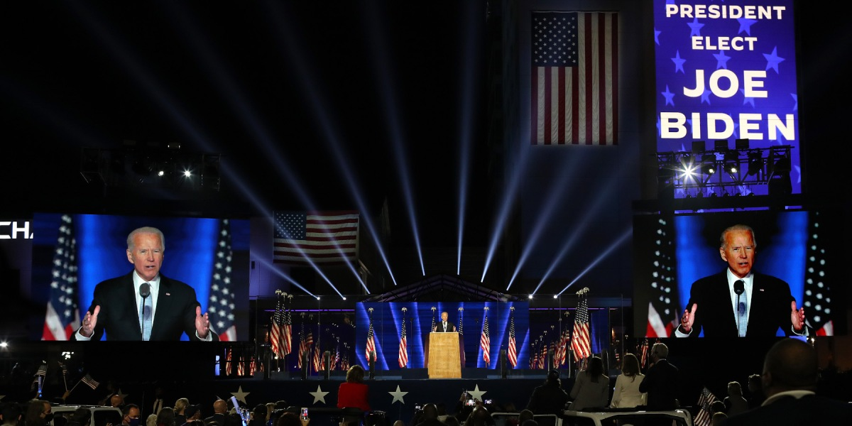 President-elect Joe Biden addresses the nation from the Chase Center November 07, 2020 in Wilmington, Delaware.