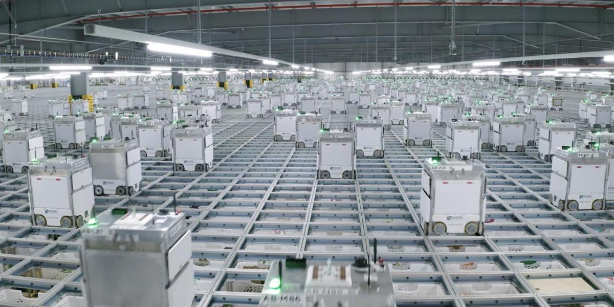Ocado automated warehouse