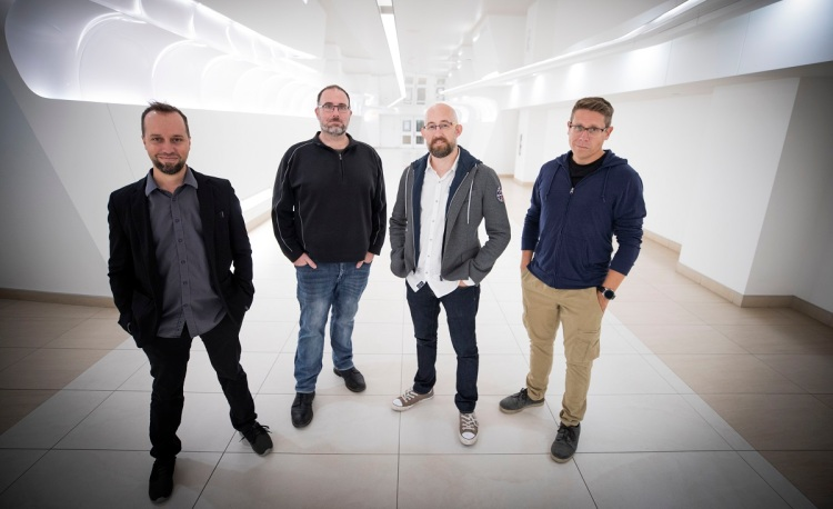 Yellow Brick Games leaders (left to right): Frédéric St-Laurent B., Mike Laidlaw, Jeff Skalski and Thomas Giroux.