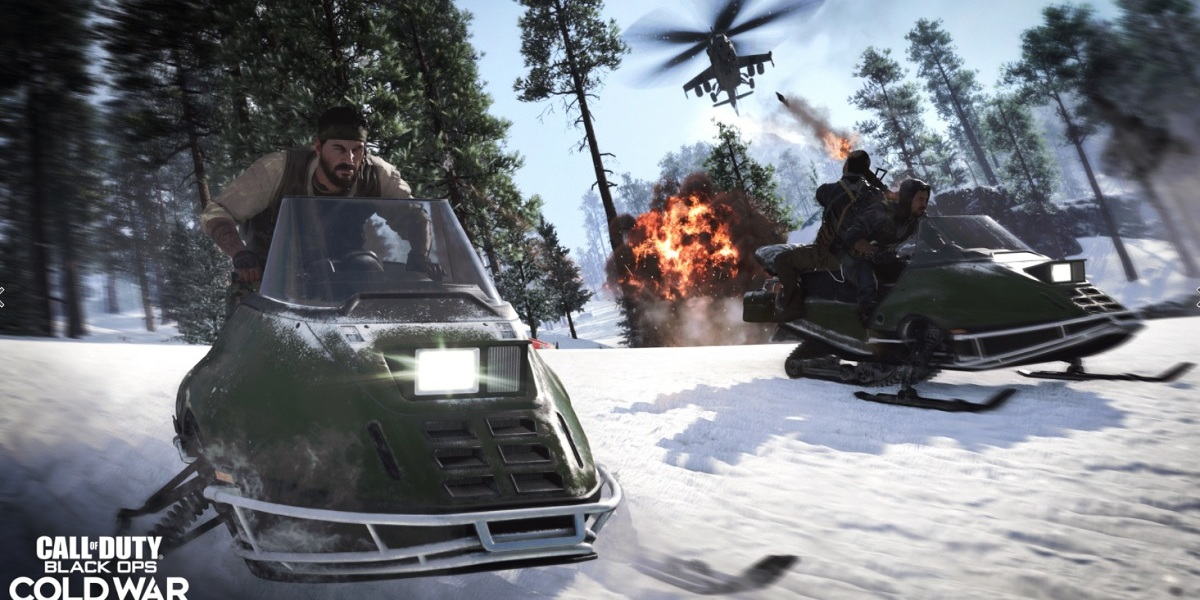 Frank Woods rides a snowmobile in Call of Duty: Black Ops -- Cold War.