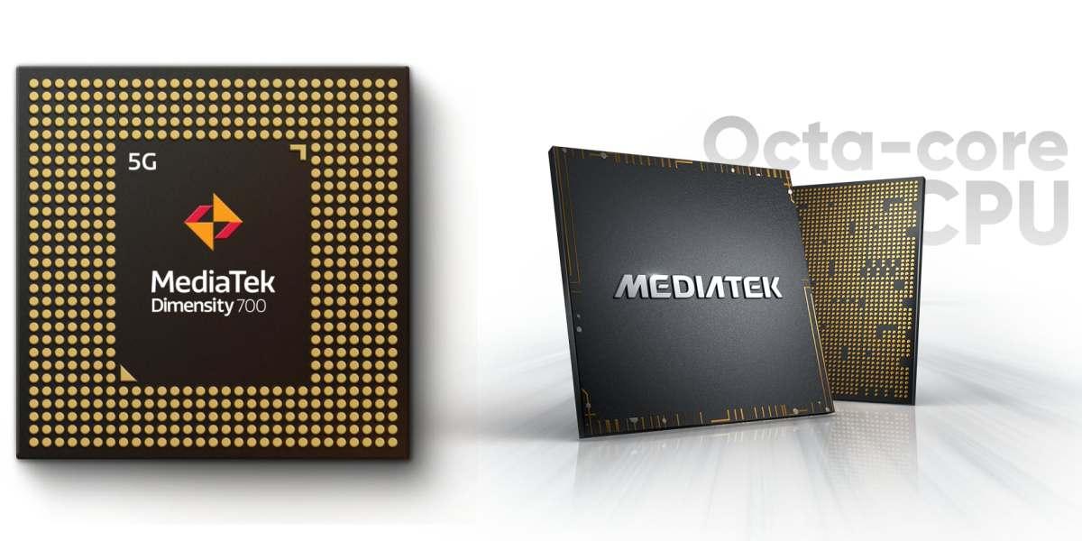 The new Dimensity 700 is shown next to a MediaTek Chromebook processor.