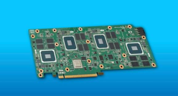 Intel Server GPUs sit on a board.