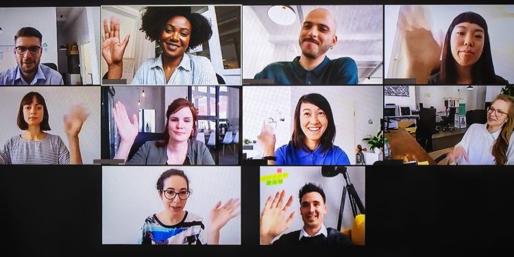 Screen showing employees in a Zoom call