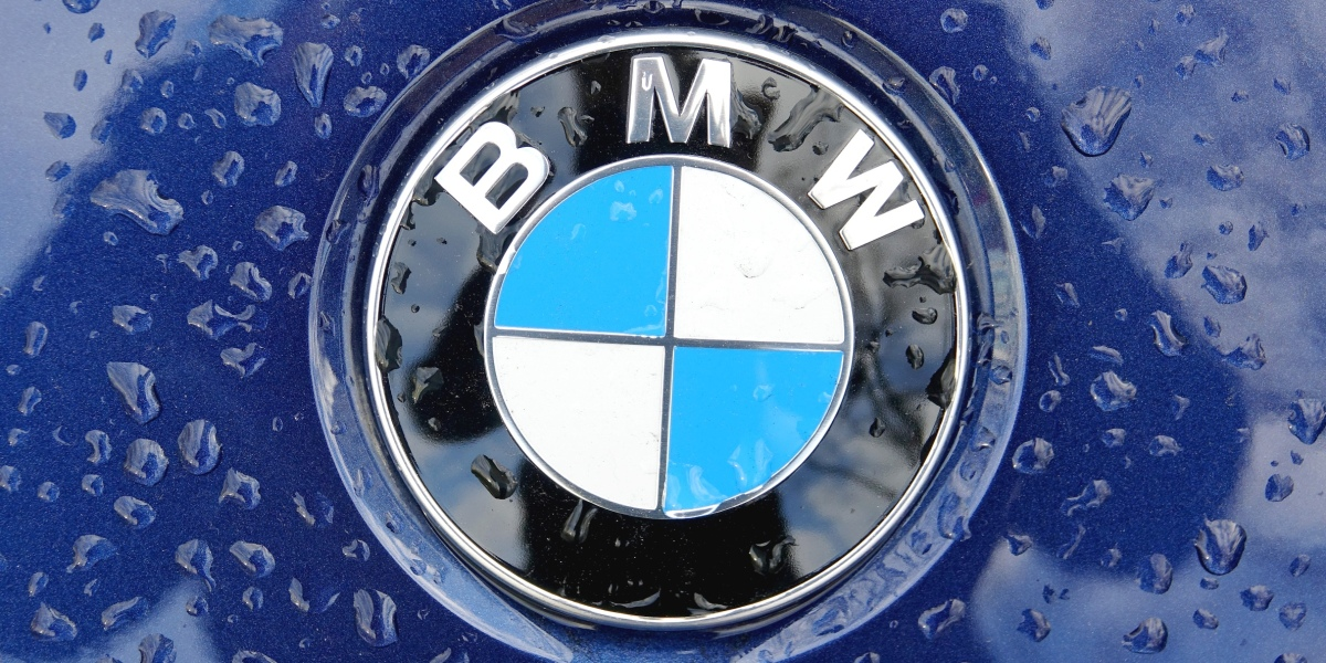 16 November 2020, Berlin: Raindrops on a BMW logo.