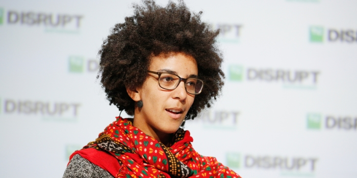 Former Google AI research scientist Timnit Gebru speaks onstage at TechCrunch Disrupt in San Francisco in September 2018