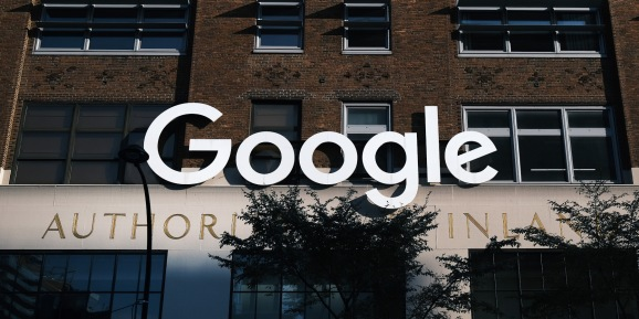 NEW YORK, NEW YORK - OCTOBER 20: Google's offices stand in downtown Manhattan on October 20, 2020 in New York City. Accusing the company of using anticompetitive tactics to illegally monopolize the online search and search advertising markets, the Justice Department and 11 states Tuesday filed an antitrust case against Google.