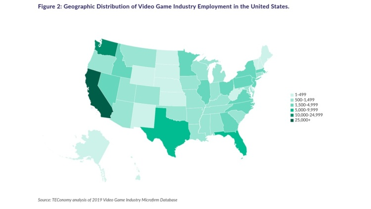 The darker areas have the most video game jobs.