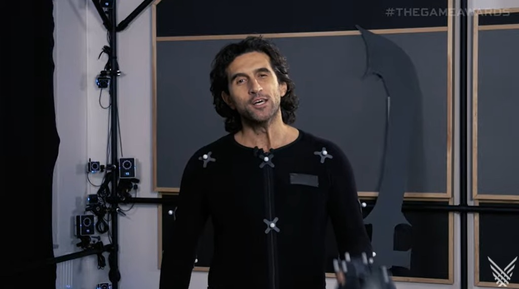 Josef Fares in a mocap suit during The Game Awards.