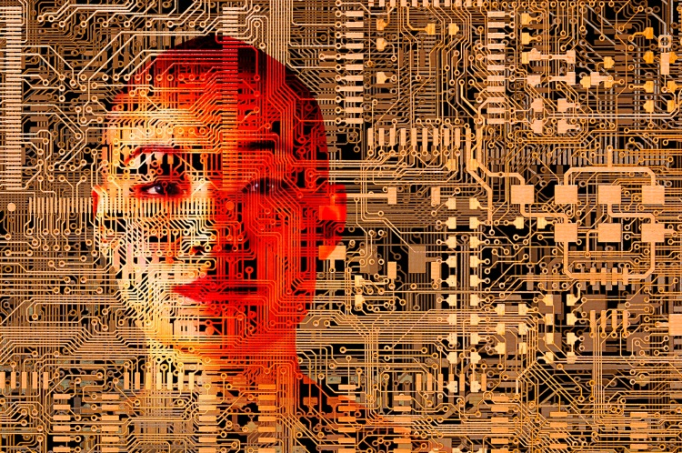human face over microchip circuits