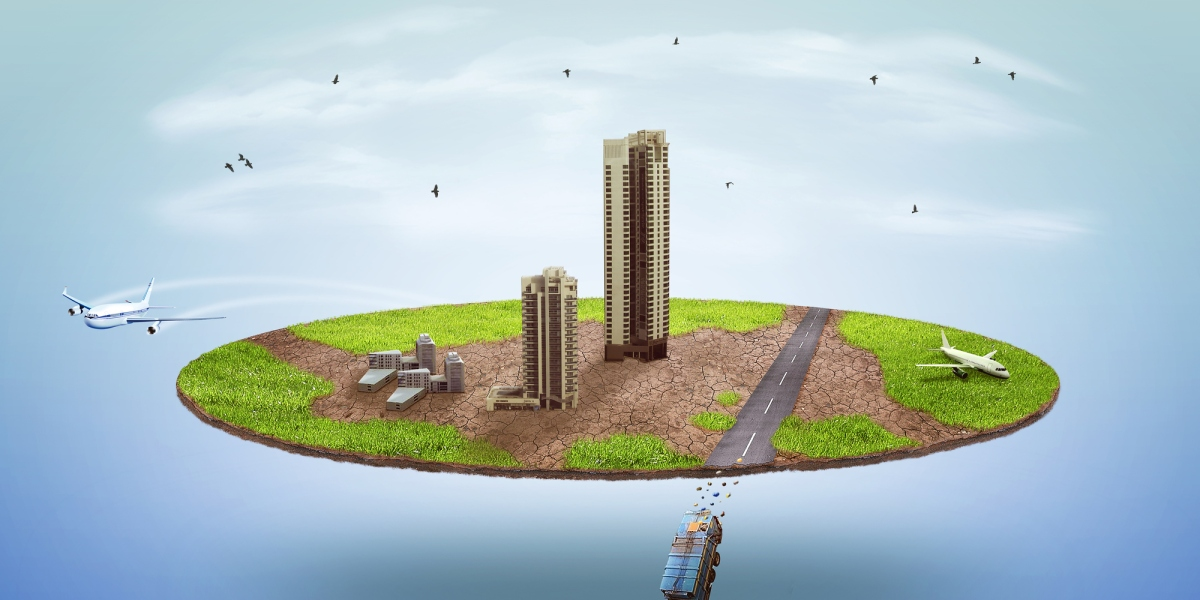 island floating in the sky with bus driving off the edge and plane taking off