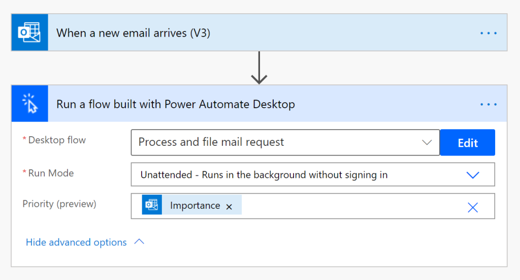 Power Automate Desktop important email priority