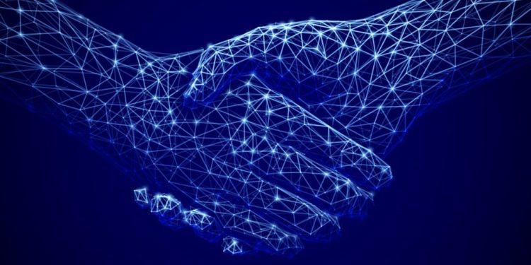 Abstract technology background. Digital handshake