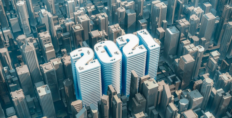 3D illustration of year 2021 shaped building in downtown modern city