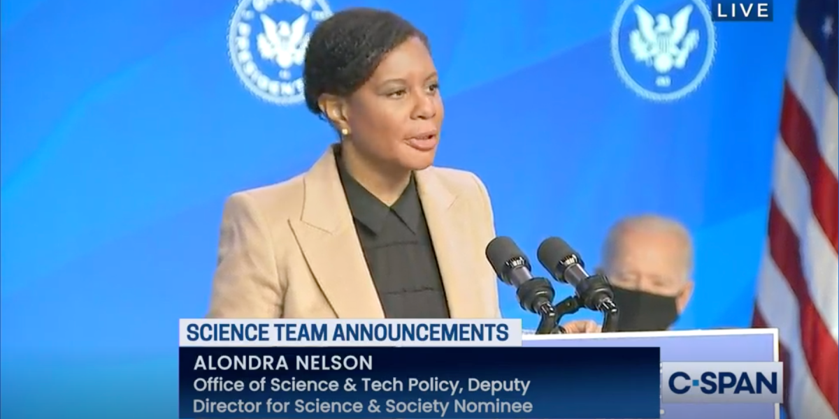 Dr. Alondra Nelson in a ceremony introducing the Biden science team