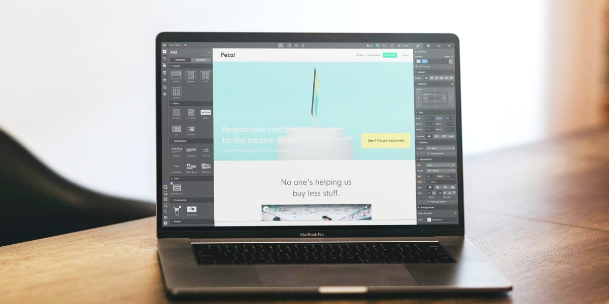 Webflow on laptop