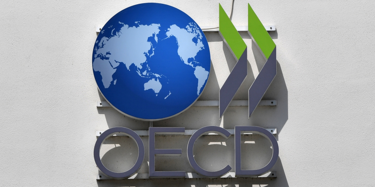 The logo of the OECD - Organization for Economic Co-operation and Development - in Schumann-Strasse in Berlin, Germany, 31 May 2016.