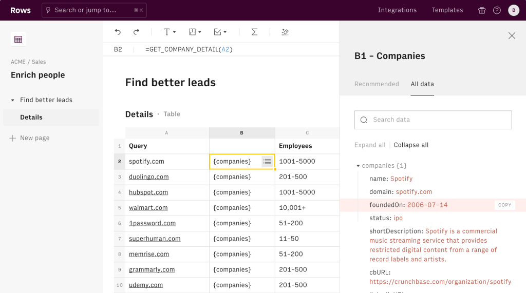 Rows raises $16 million and launches next-gen spreadsheets with built-in data integrations 02 Integrations