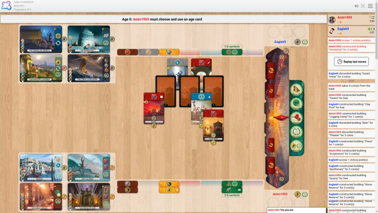 7 Wonders is one of the games that runs on Board Game Arena.