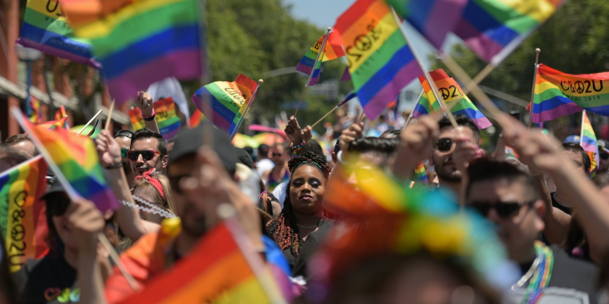 People participate in the annual LA Pride Parade in West Hollywood, California, on June 9, 2019.