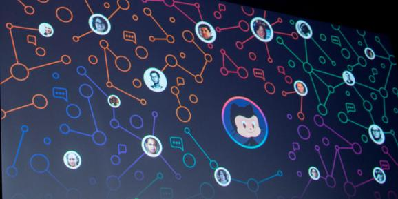 Github logo within a web of developers.  GitHub CSO pledges more security tools, features for developers GitHub screen