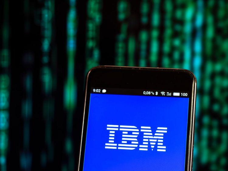 The IBM logo seen displayed on a smartphone. (Photo Illustration by Igor Golovniov/SOPA Images/LightRocket via Getty Images)