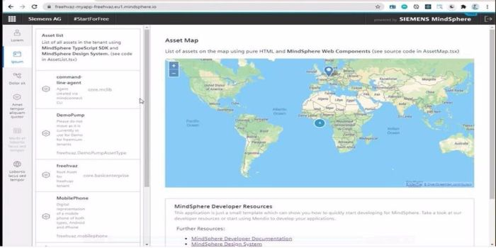 Screengrab from the Siemens MindSphere platform