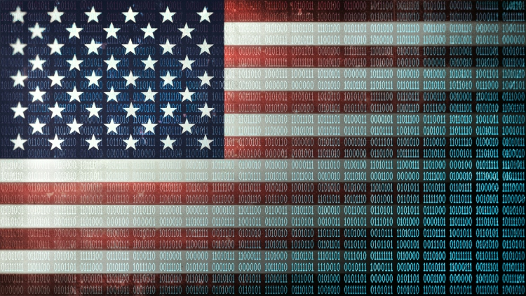 Binary code, ones and zeros in a 1970 dot matrix font on a distressed US Flag faded to data 1010110 columns.