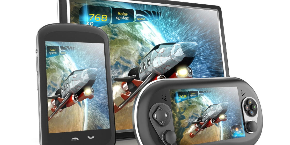 Tablet PC, smartphone and handheld console with a cross-platform video game screens.