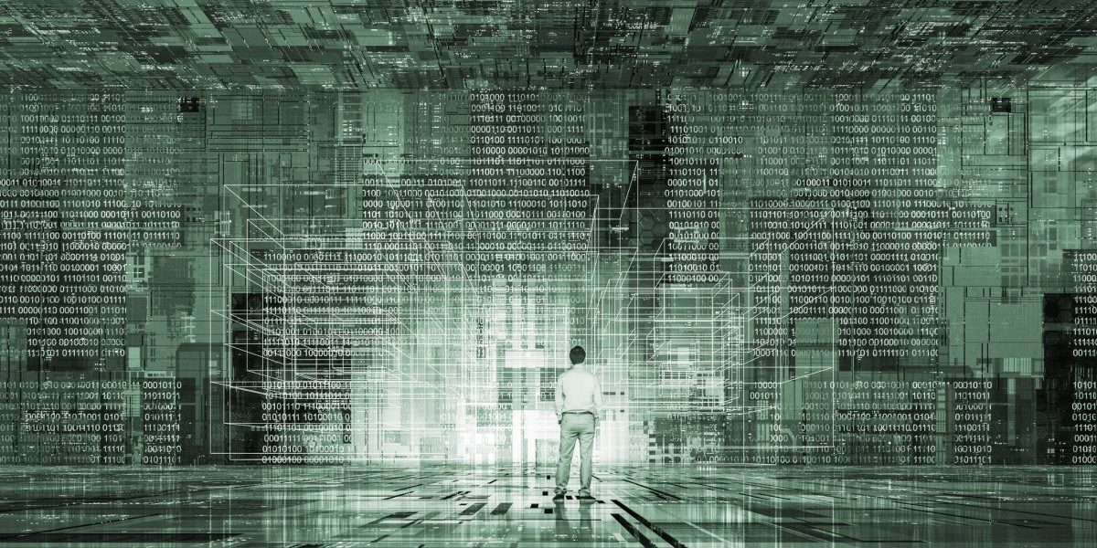 Person surrounded by walls of data