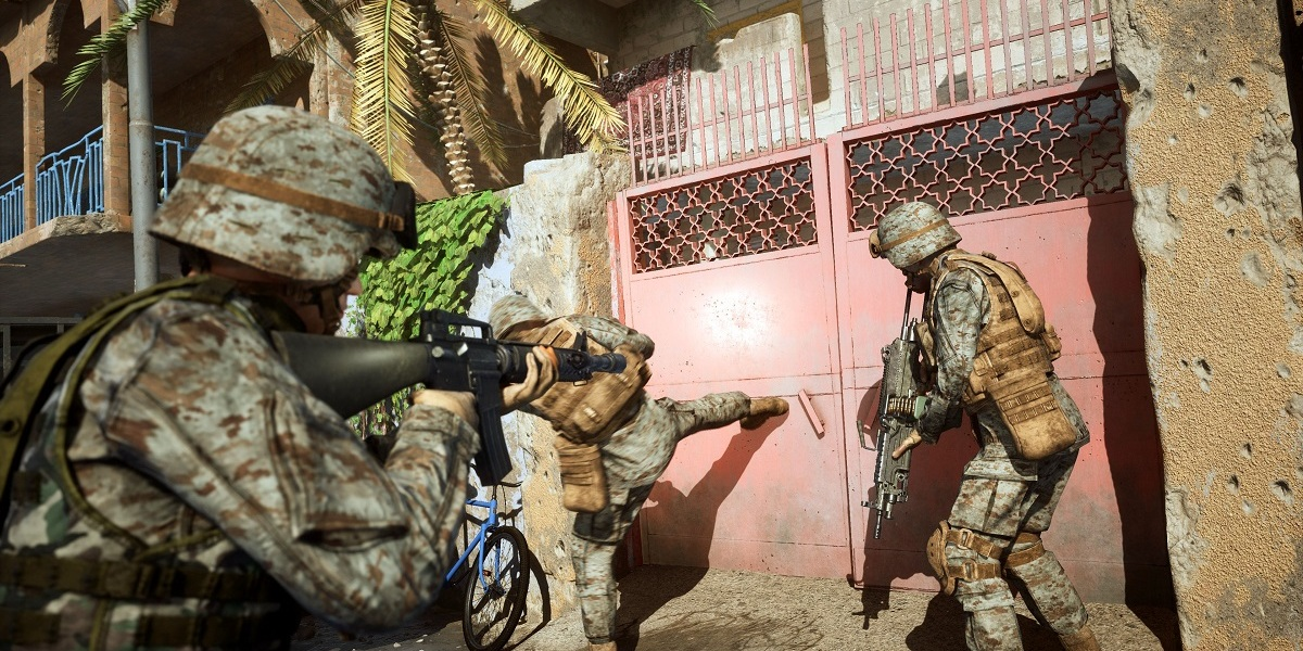 Kicking down doors and discerning what lies beyond them is a big par t of Six Days in Fallujah.