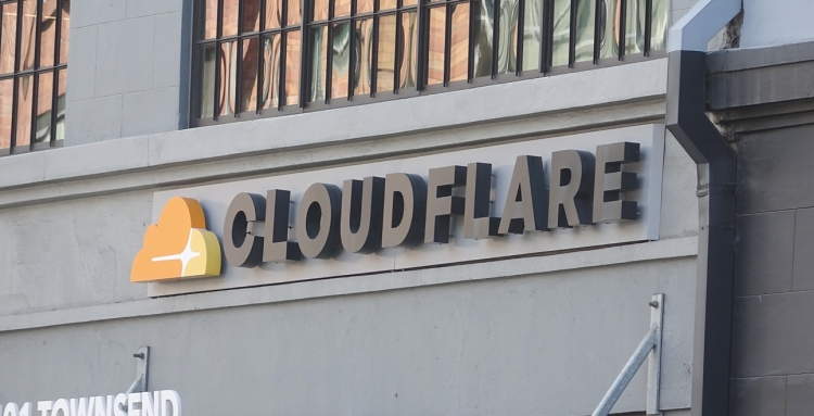Close-up of logo on facade at headquarters Cloudflare in the SoMA neighborhood of San Francisco, California, June 10, 2019.
