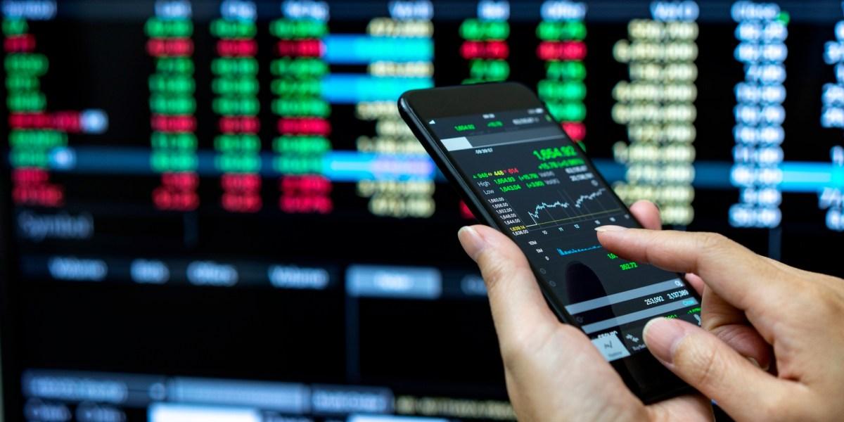 Person checking stock market data