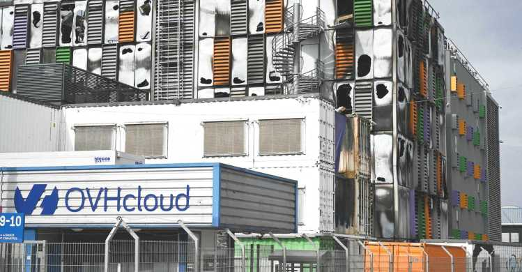 A picture taken on March 10, 2021 shows a view of a cloud data center of French Internet Service Provider OVH after the building was damaged in a fire in Strasbourg, eastern France.