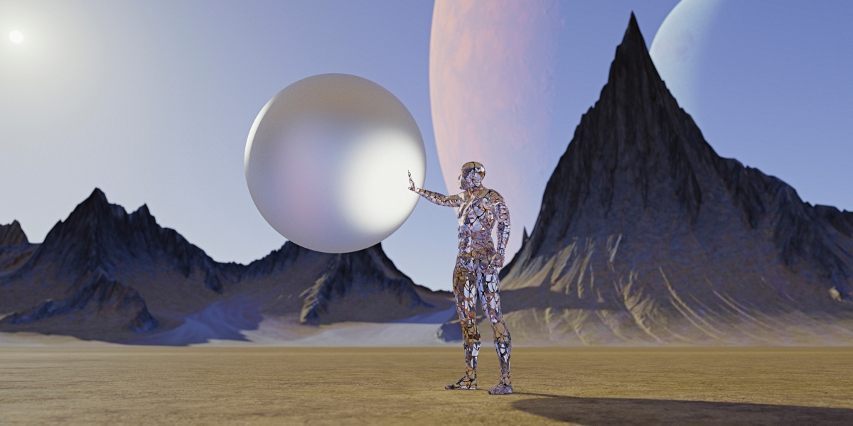 Transparent futuristic man holding sphere