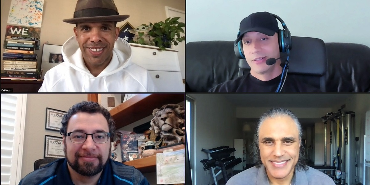 Clockwise from top right: Jace Hall, chief creative officer; Rick Fox, chief business development officer; Anthony Castoro, CEO; and David Washington, chief impact officer.  Dr. David Washington has a hat on.