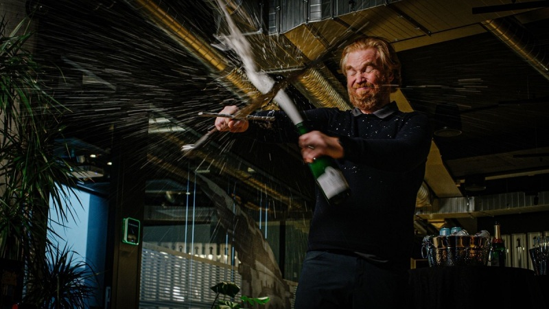 Hilmar Petursson gets a Viking sword to celebrate his 20th anniversary.