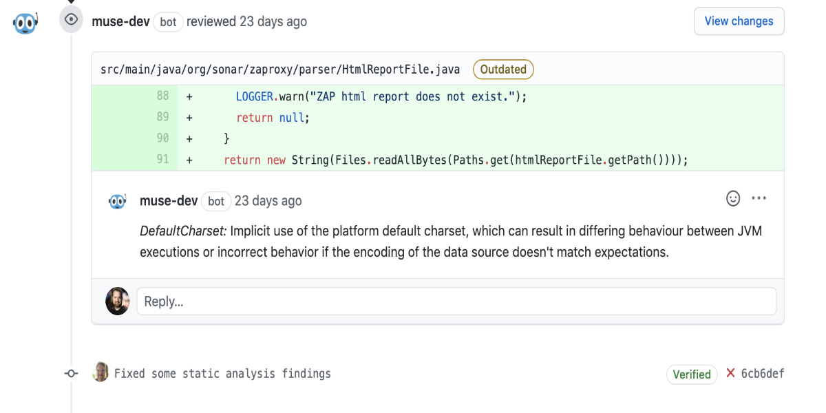 Example of how Muse comments on code review