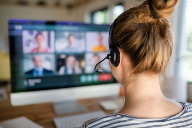Woman on a video conference call