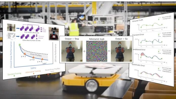 Adversarial training for autonomous warehouse robots