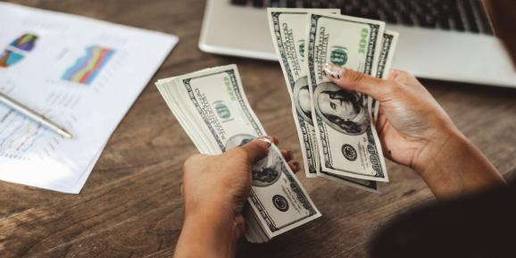 Women counting money
