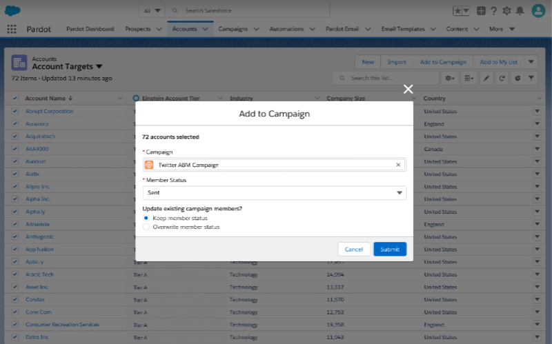 Salesforce Einstein Account as Campaign Members